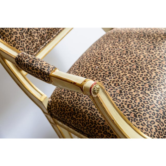 Late 19th Century Louis XVI Leopard Upholstered Bergere Chairs - a Pair For Sale - Image 5 of 10