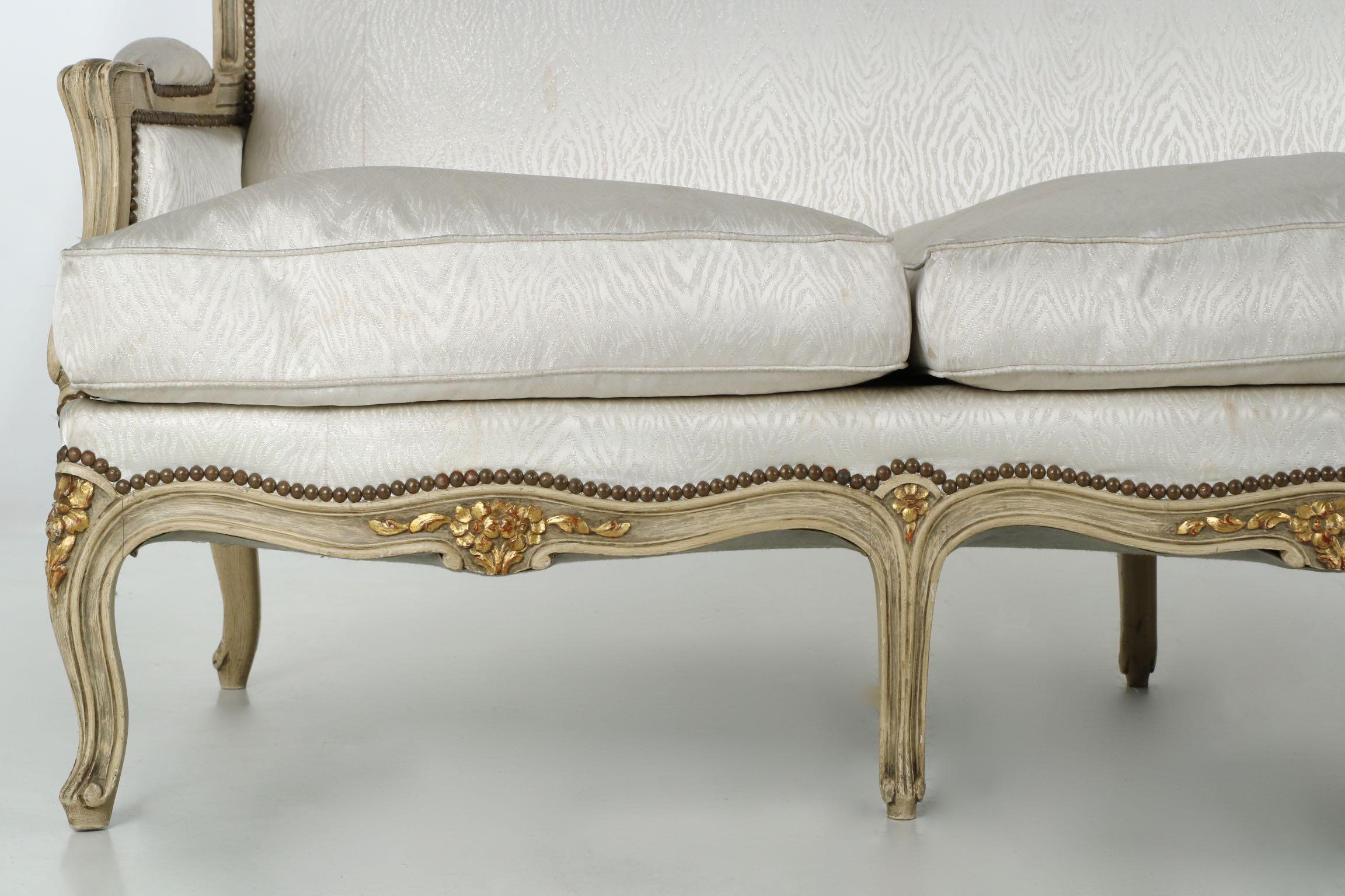Beau Vintage French Louis XV Style Settee Sofa, Circa 1940u0027s   Image 8 Of 10