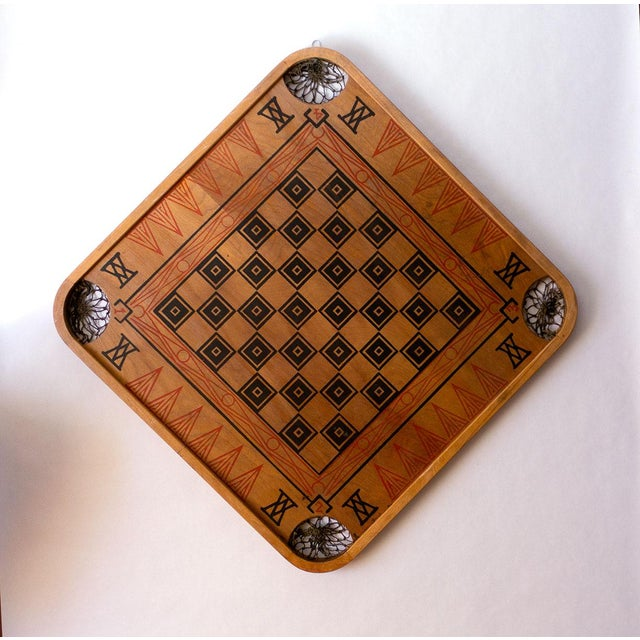 Cotton 1930s Boho Chic Viking Motif Carrom Board For Sale - Image 7 of 7