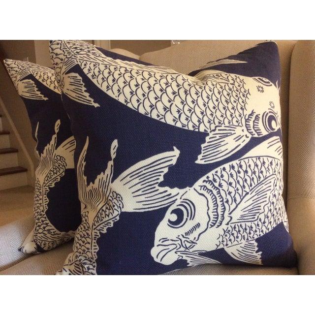 """Manuel Canovas """"Calypso"""" Navy Pillows - A Pair - Image 2 of 4"""