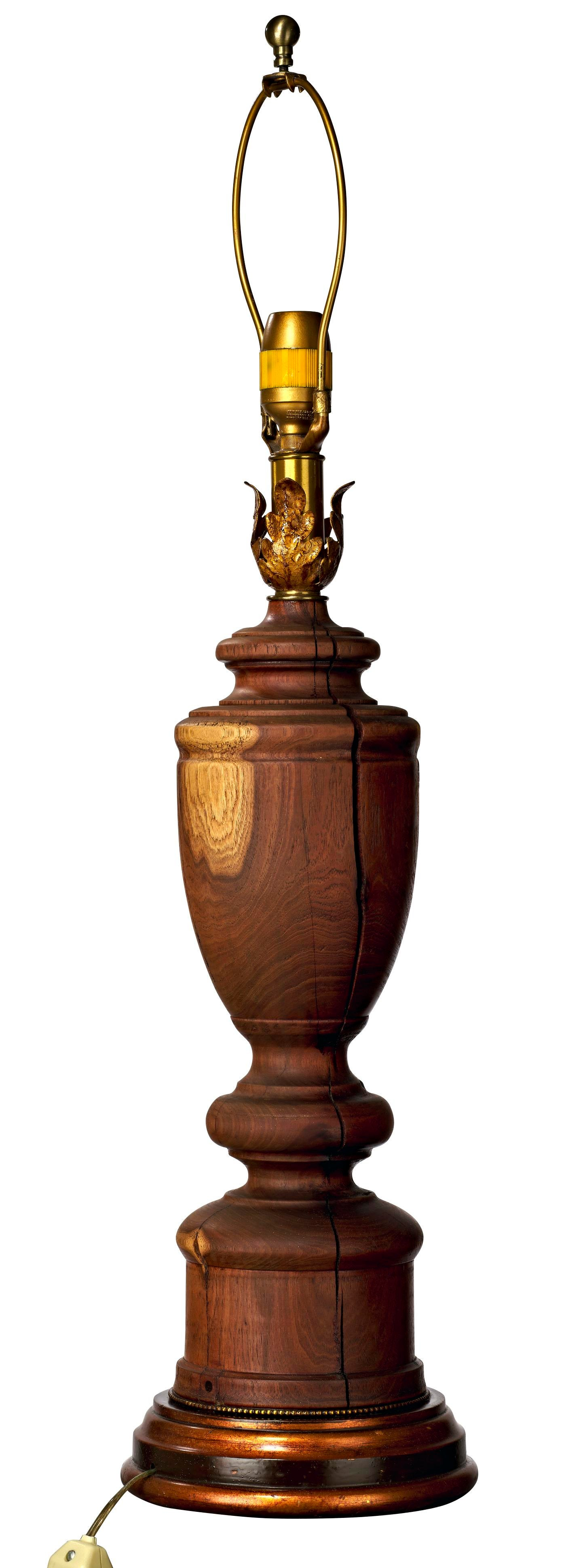1970s Vintage Custom Turned Cherry Wood Post Table Lamp Chairish