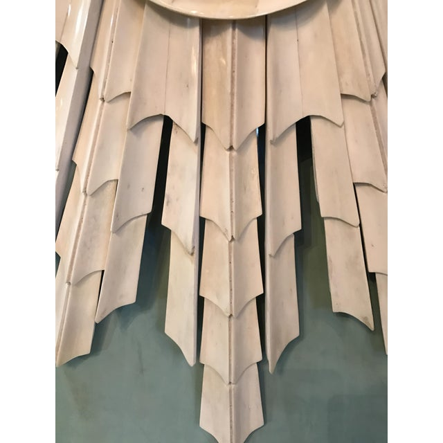Italian Bone Sunburst Mirror with Convex Glass - Image 3 of 6