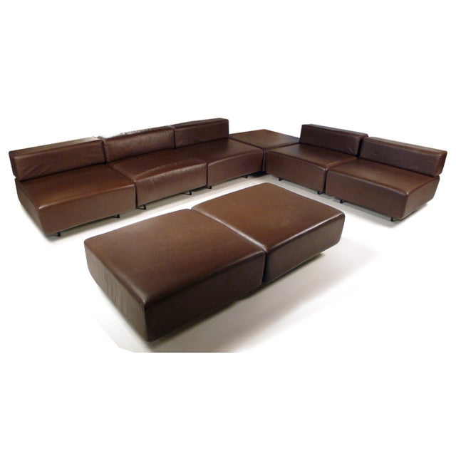 Harvey Probber Chocolate Brown Leather 'Cubo' Sectional Sofa - Image 5 of 9