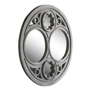Contemporary Traditional Style French Circular Handmade Painted Timber Window Frame Mirror For Sale