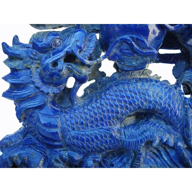 3-D Carved Lapis Asian Dragons Statue - Image 5 of 6