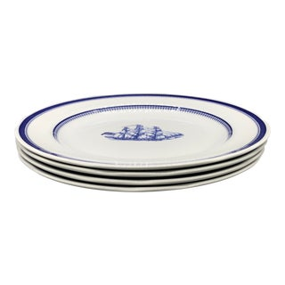 1990s Nautical Spode's Blue Clipper Dinner Plates - Set of 4