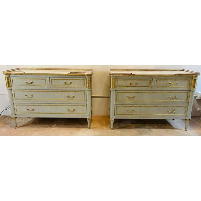 Pair of faux linen look gray paint and bronze mounted Jansen style marble top commodes, night tables or chests. Stunning...