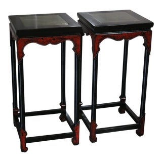Black Lacquer Flower Stands With Stone Top - a Pair For Sale