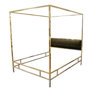Mid Century Modern Baughman Chrome Black 4 Poster Queen Canopy Bed Frame 70s For Sale