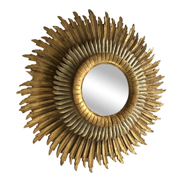 Spanish Baroque Double Layered Gold Leaf Gilt-Wood and Silvered Sunburst Mirror For Sale
