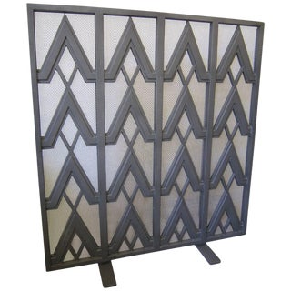Art Deco Style Geometric Motif Iron Fire Screen For Sale