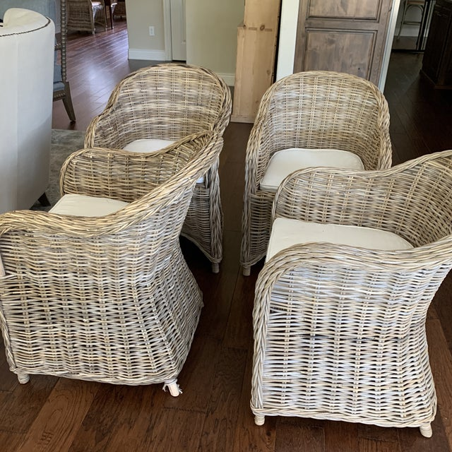 Rattan Valencia Dining Chairs - Set of 4 For Sale - Image 4 of 12
