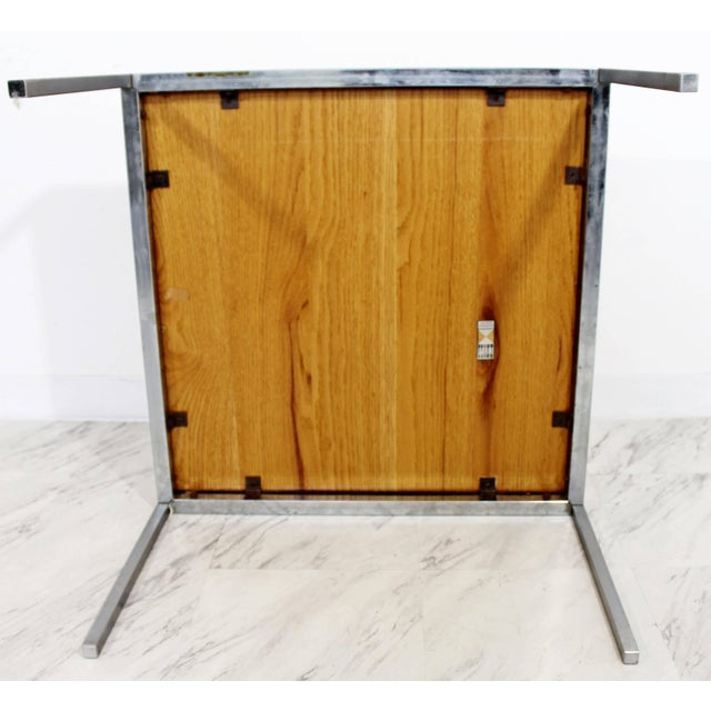 Metal Mid-Century Modern Knoll Square Steel and Walnut Floating Coffee Table, 1950s For Sale - Image 7 of 9