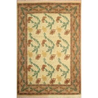 "William Morris Pak-Persian Carnation Ivory Tan Wool Rug - 8'1"" x 10'3"""