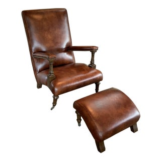 Henredon Leather Chair and Ottoman For Sale
