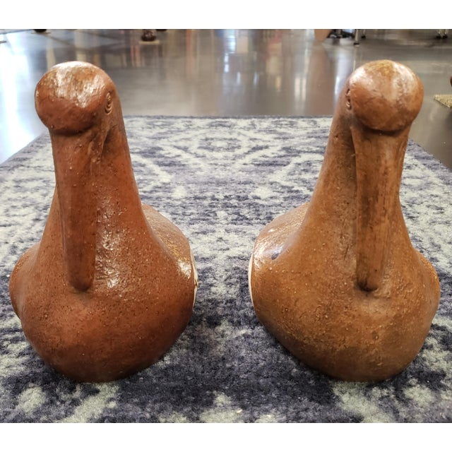 """Up for sale is a Pair of Mid 20th Century Japanese Bizen Ware Clay Bird Sculptures! They each measure approximately 7""""..."""