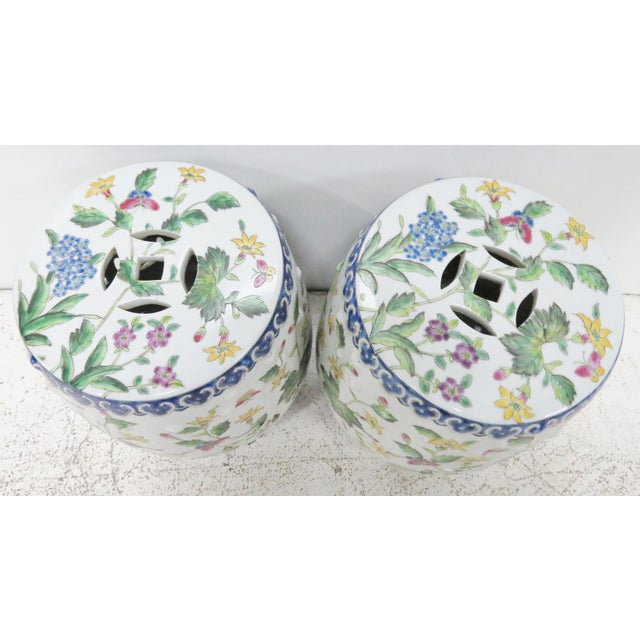 Colorful pair of floral Chinese porcelain garden stools