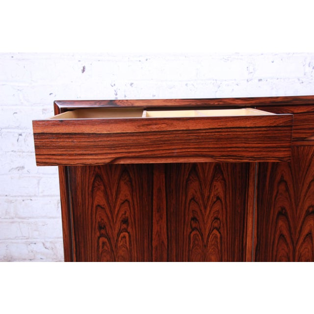 Danish Modern Rosewood Sideboard Credenza, Newly Refinished For Sale - Image 10 of 12