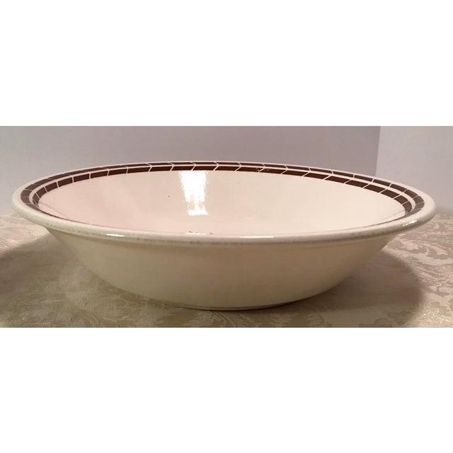 Mid-Century Modern Cream & Brown Wheat Serving Bowl - Image 8 of 8
