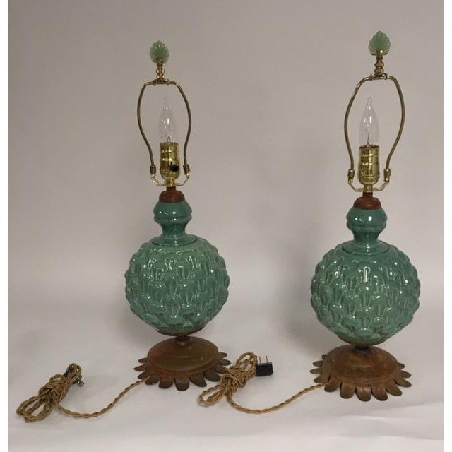 Jade Green Side Table Lamps - a Pair For Sale - Image 10 of 10
