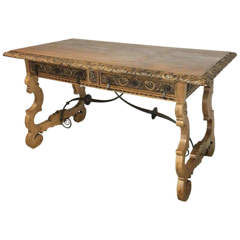 19th Century Walnut And Wrought Iron Desk With Two Drawers And Lyre Legs  For Sale
