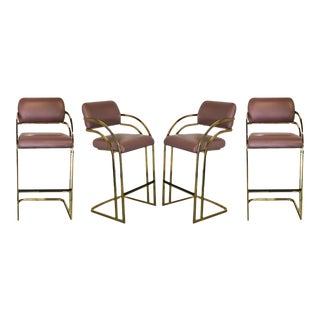 Mid Century Milo Baughman Gold Brass Flat Bar Cantilever Stools - Set of 4 For Sale