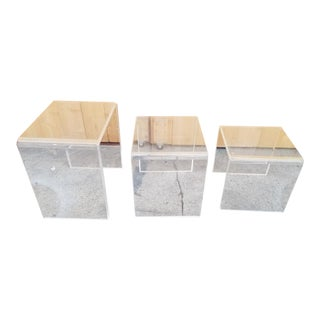 Hollywood Regency Lucite Waterfall Design Nesting Tables - Set of 3 For Sale