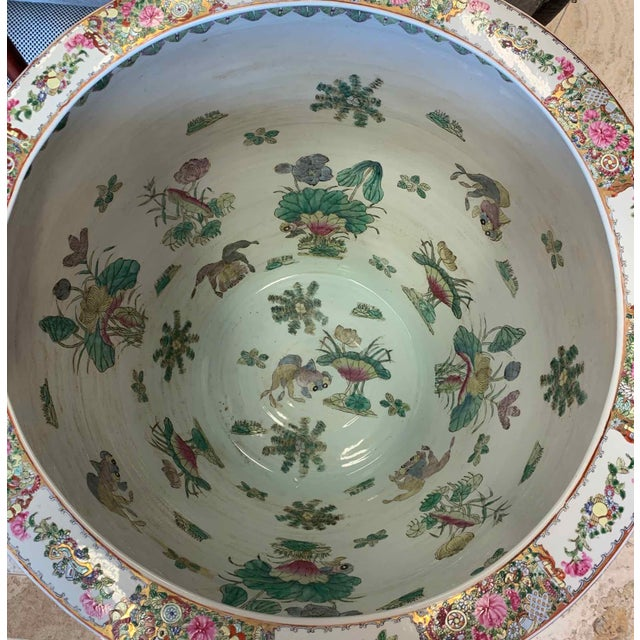"""Asian Antique Famille Rose Palace Fish Bowl 31"""" For Sale - Image 9 of 13"""