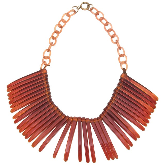 Vintage Tortoise Resin Fringe Collar Bib Necklace For Sale - Image 11 of 11