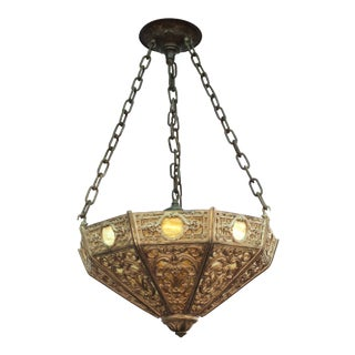 Renaissance Revival Pendant with Grotesque Motif and Marbled Glass Panels For Sale