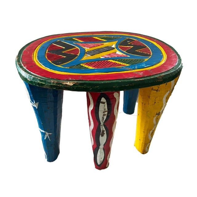 """Red African Old Nupe Stool Nigeria 12"""" H For Sale - Image 8 of 8"""