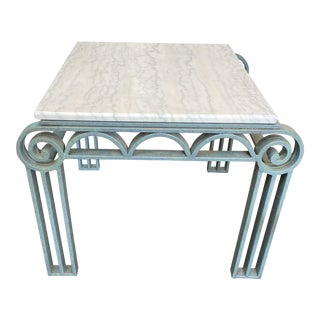 Art Deco Iron and Marble Side Table For Sale