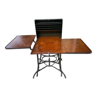 1910 Industrial Typewriter Table/Rolltop Desk For Sale