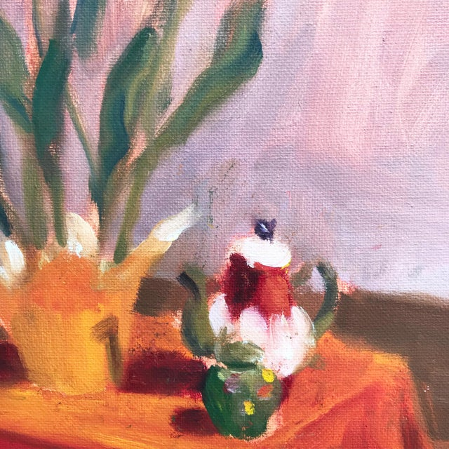 Contemporary Still Life of Tulips & Tea Pot Oil/Canvas For Sale - Image 4 of 5