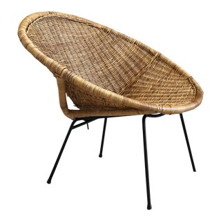 Vintage Mid-Century Modern Wicker Rattan and Iron Hoop Circle Chair For Sale