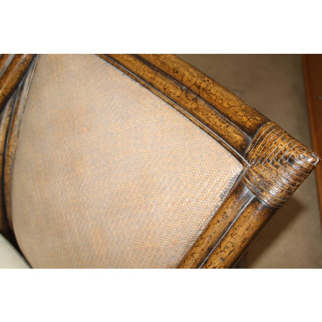 Animal Skin Egyptian Revival Cane and Leather Armchair With Sphinx Arms For Sale - Image 7 of 10
