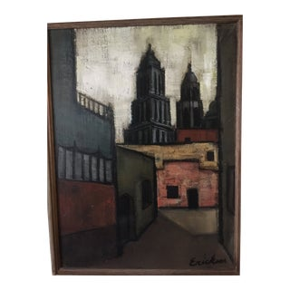 Vintage Cityscape Oil on Canvas Painting Signed Erickson For Sale