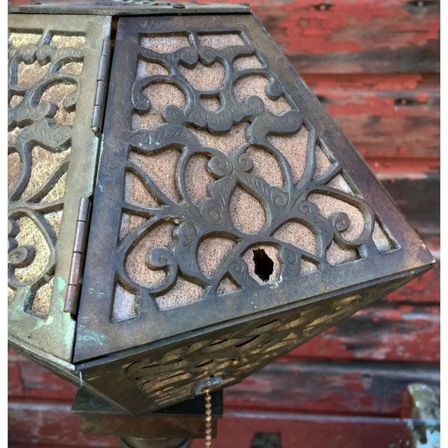 Art Nouveau 1920's American Arts & Crafts Movement Bronze Table Lamp For Sale - Image 3 of 9