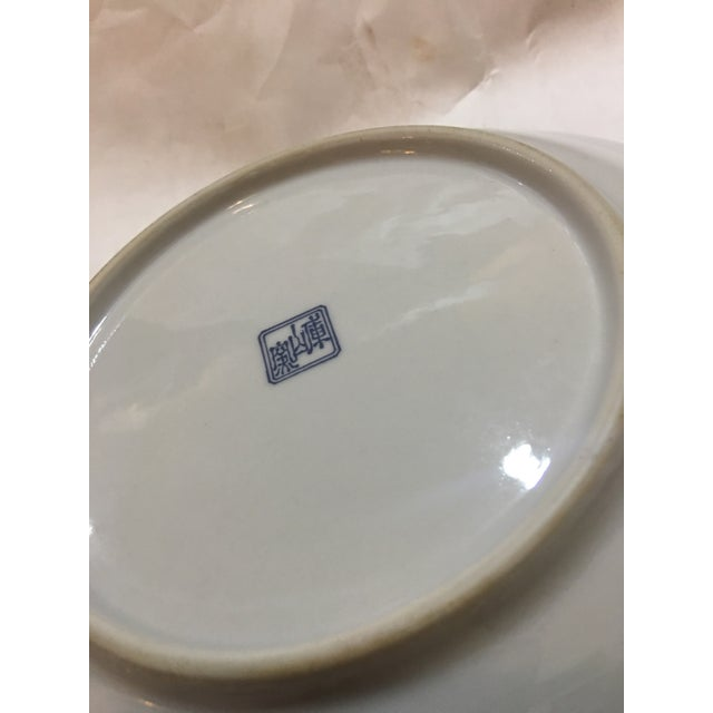 Asian Japanese Scenery & Flowers Porcelain Plate For Sale - Image 3 of 4