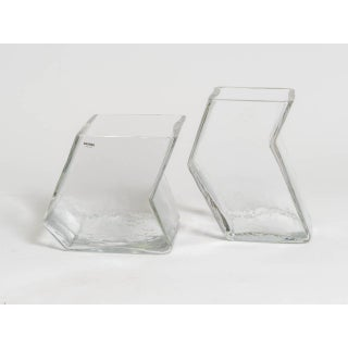 Large Pair of Vintage Architectural Glass Vases, Signed Barbini Preview
