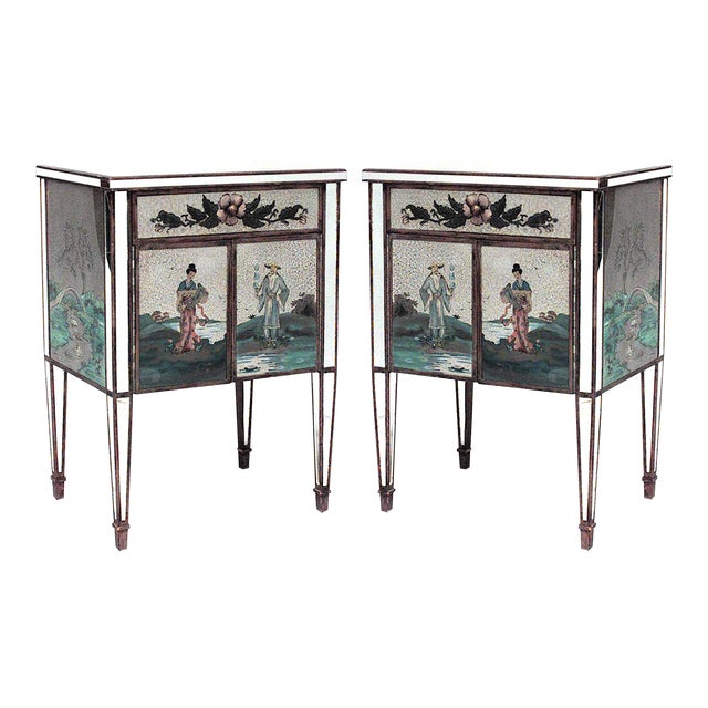 Italian Mirrored Floral Bedside Commodes - a Pair For Sale
