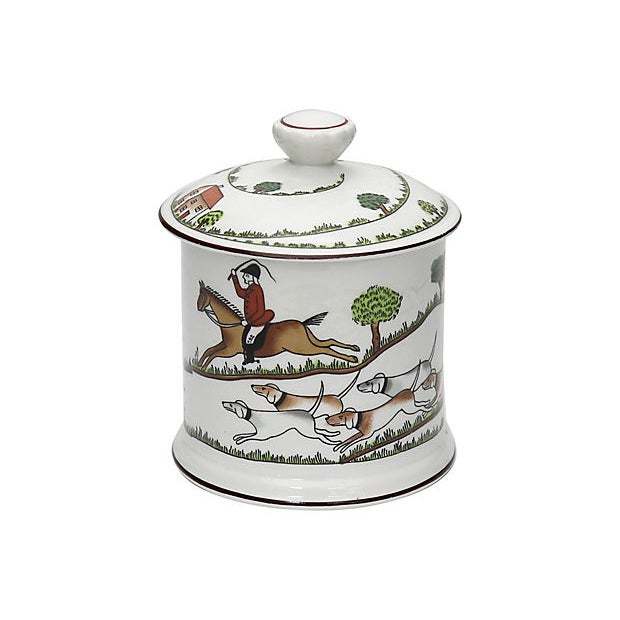 Country Crown Staffordshire Fox Hunt Scene Jam / Preserves Pot For Sale - Image 3 of 5