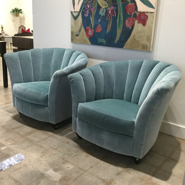 Directional Blue Velvet Chairs- A Pair For Sale - Image 4 of 13