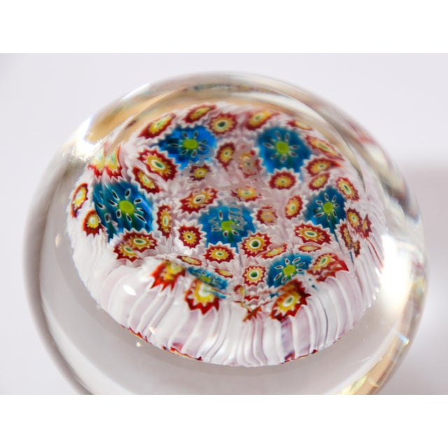 Glass Italian Vetreria Murano Venini Art Glass Millefiori Collectable Paperweight For Sale - Image 7 of 10