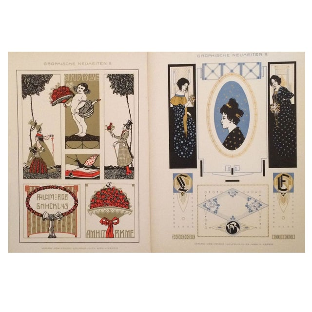 German Decorator Prints C1900 Angels & Ladies S/2 For Sale