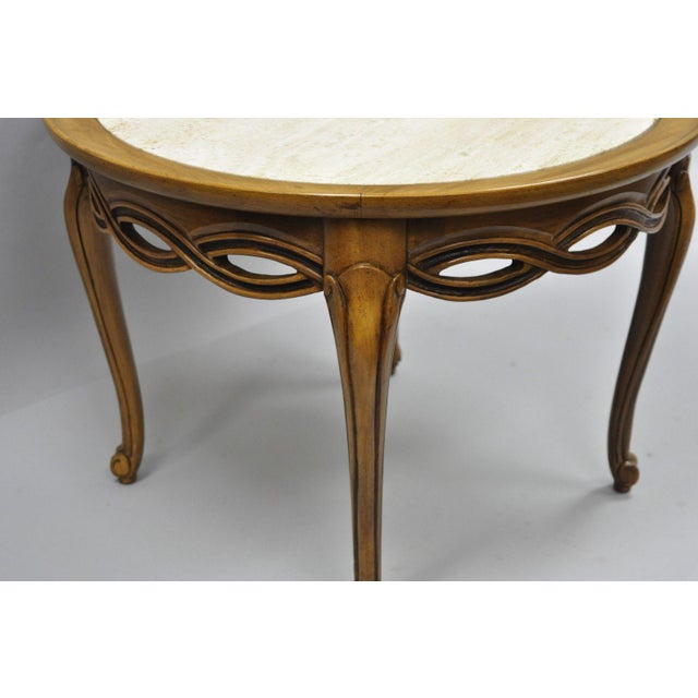 Brandt Bordeaux Hollywood Regency Round Travertine Top Walnut Side - Bordeaux coffee table