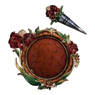 Late 20th Century Vintage Bejeweled Enamel Wine Coaster & Stopper - 2 Pieces For Sale