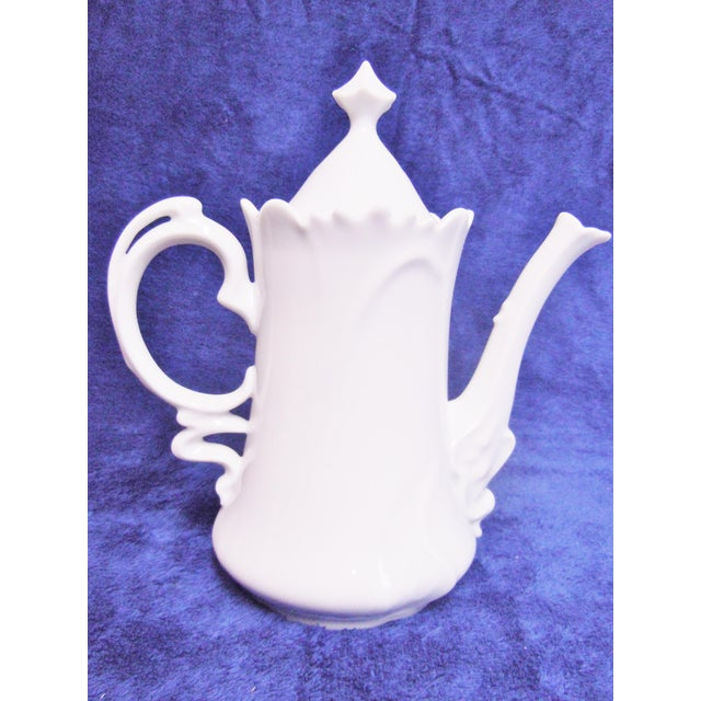 Floral White Porcelain Teapot For Sale - Image 6 of 6