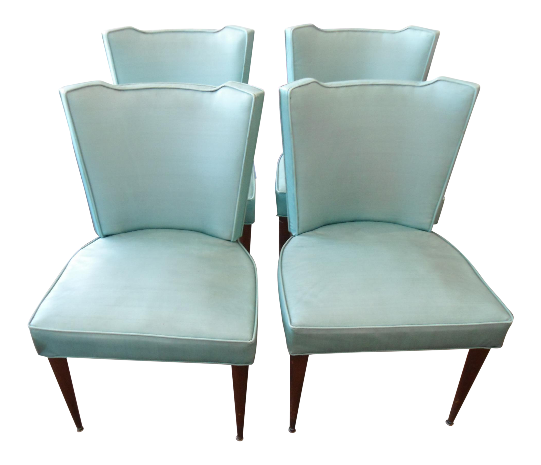 Vintage Blue Vinyl Dining Side Chairs   Set Of 4