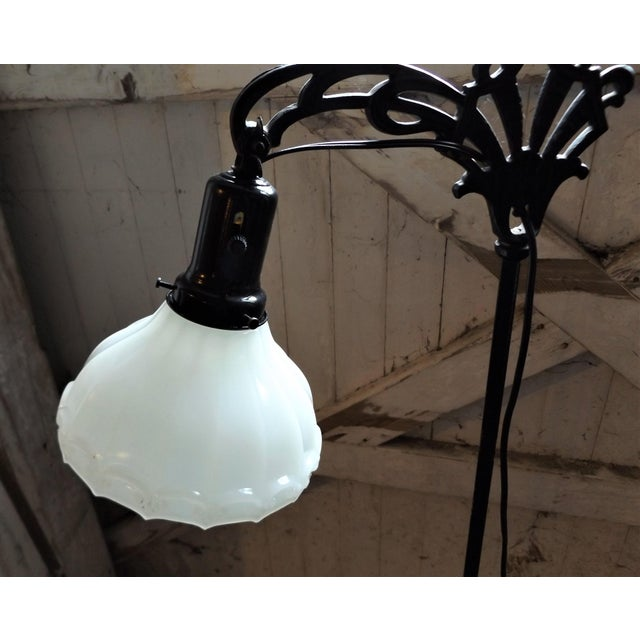 Antique Iron Bridge Floor Lamp & Milk Glass Shade - Image 7 of 9